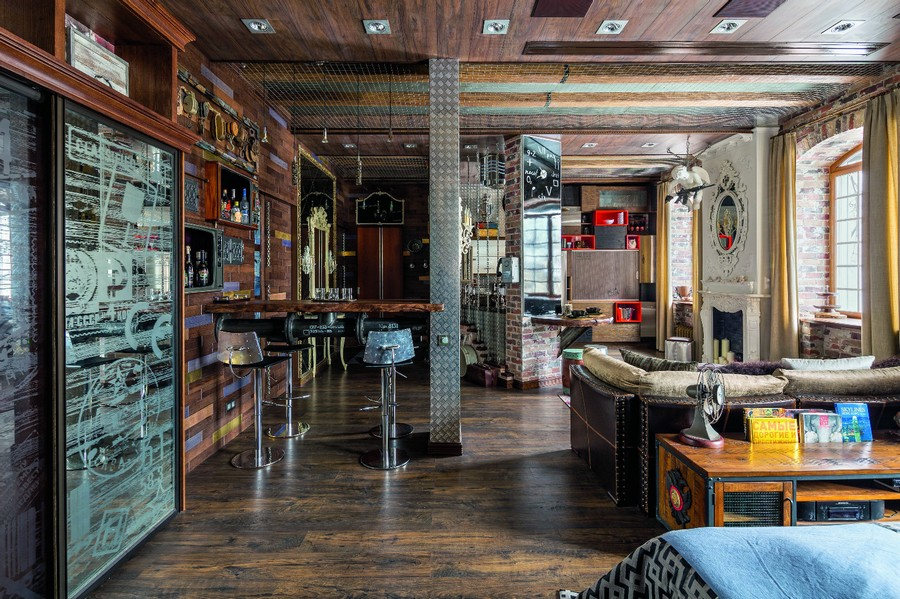 1-wooden-ceiling-decor-in-interior-design-wire-mesh-industrial-loft-style-brutal-living-room-glass-fireplace-bar-stools-steam-punk-motifs