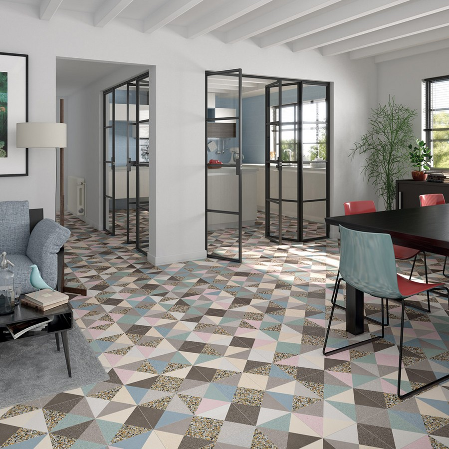 11-1-ceramic-tiles-in-interior-design-Vives-brand-collection-2017-beige-blue-and-gray-floor-tiles-geometrical-pattern-motifs-dining-room-kitchen