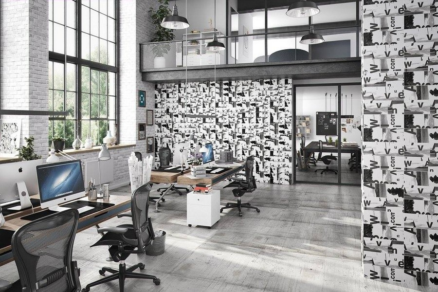 12-4-ceramic-tiles-in-interior-design-Cas-Ceramica-brand-collection-2017-office-black-and-white-letters-wall-pattern-loft-style-floor-tiles-gray-faux-concrete-cement