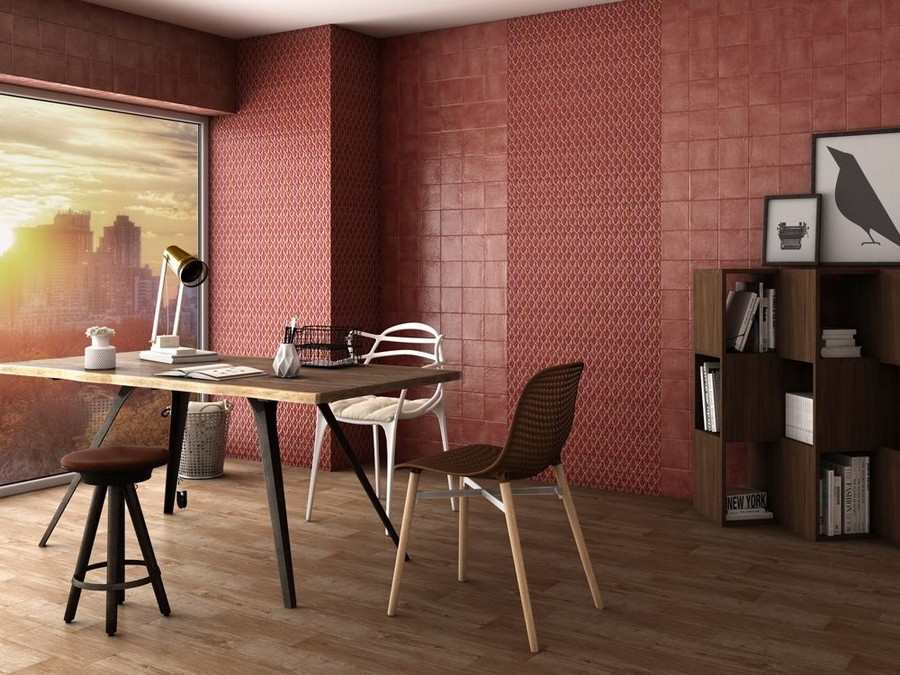 12-7-ceramic-tiles-in-interior-design-Cas-Ceramica-brand-collection-2017-matte-red-wall-tiles-office-panoramic-windows-shelving-unit-desk