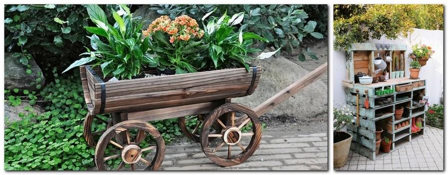 12-creative-garden-decor-ideas-shelving-unit-from-wooden-pallets-ornamental-waggon-cart