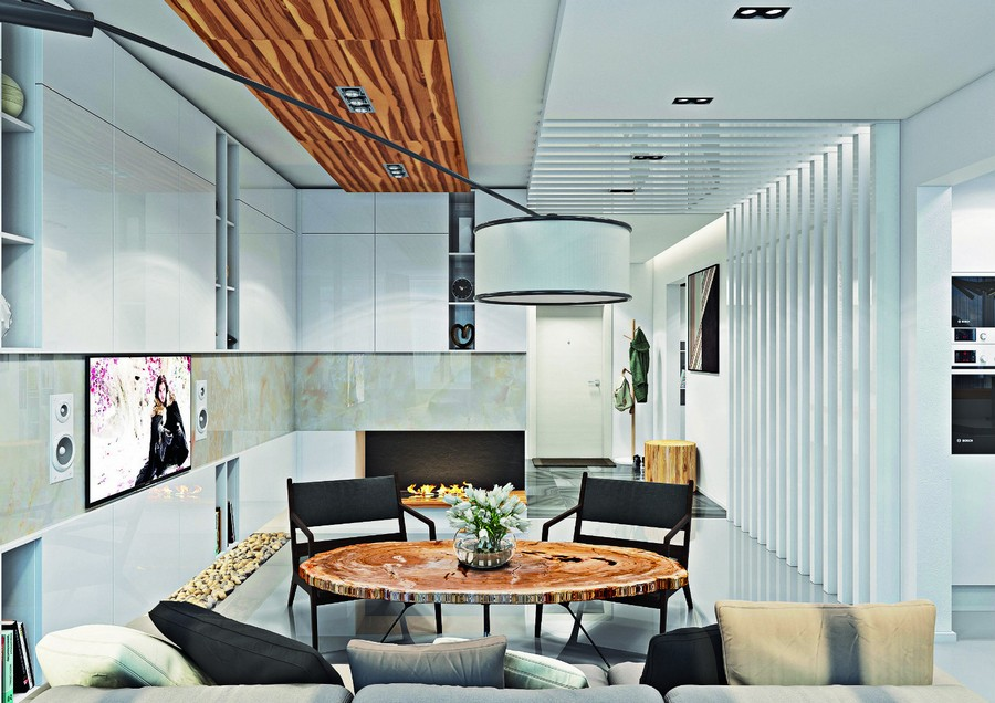 12-wooden-ceiling-decor-in-interior-design-living-room-planks-self-leveling-floor-white-glossy-ceiling-cabinets-faux-fireplace-dining-table-round-wood-cross-section-chair-big-floor-lamp-pebbles