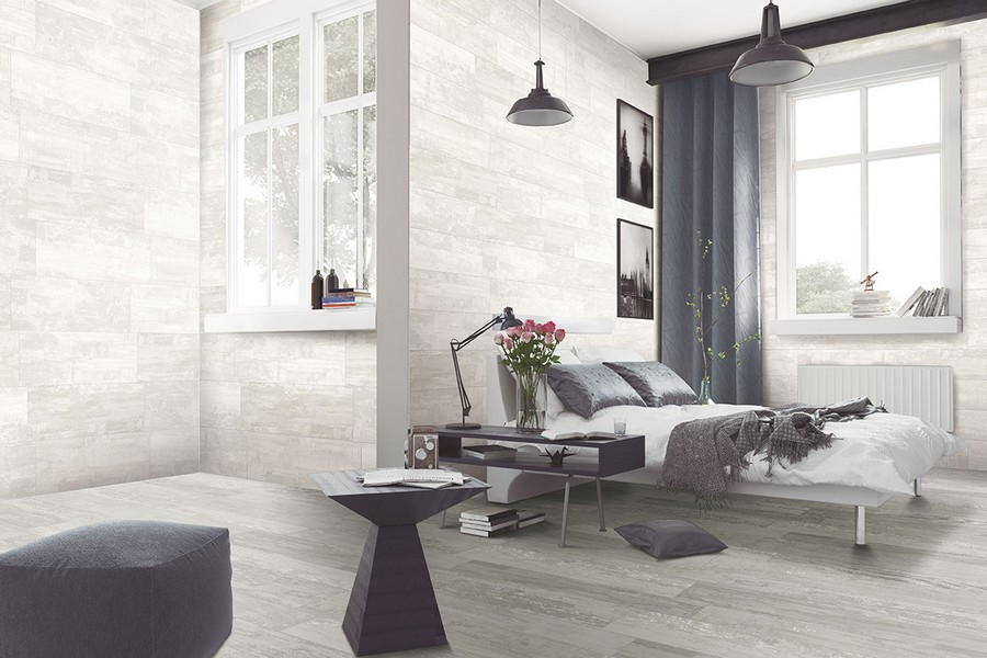 13-10-ceramic-tiles-in-interior-design-Azteca-brand-collection-2017-monochrome-gray-bedroom-two-windows-asymmetrical-room-coffee-table-ottoman-bed-suspended-lamps-wall-tiles-black-and-white-wall-art