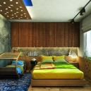 13-wooden-ceiling-decor-in-interior-design-cuddle-bedroom-shared-by-parents-and-kid-wooden-carved-veneer-ceiling-lamp-eco-style-leaves-pattern-radiator-cover-decorative-green-bed-linen-rug-built-in-storage-zone