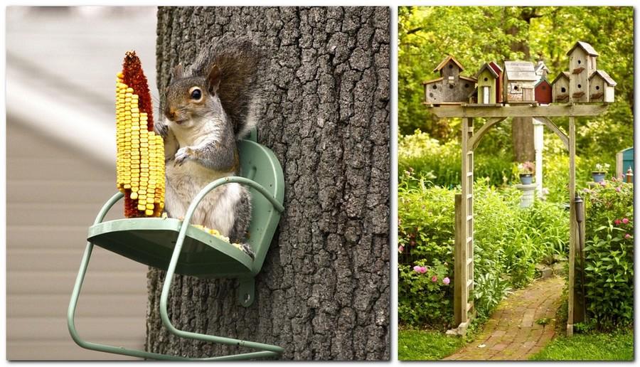 15-creative-garden-decor-ideas-handmade-birdhouses-squirrel-house-re-used-doll-chair