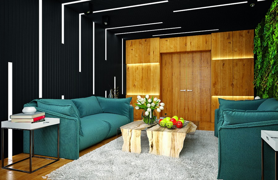 16-wooden-ceiling-decor-in-interior-design-living-room-eco-style-coffee-table-stylish-linear-LED-lights-dark-black-wall-ceiling-blue-sofas-shaggy-rug-wall-recesses