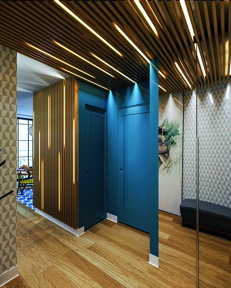 17-wooden-ceiling-decor-in-interior-design-entry-entrance-hall-linear-LED-lights-on-the-wall-invisible-blue-doors-mirrored-built-in-closet=parquet-floor