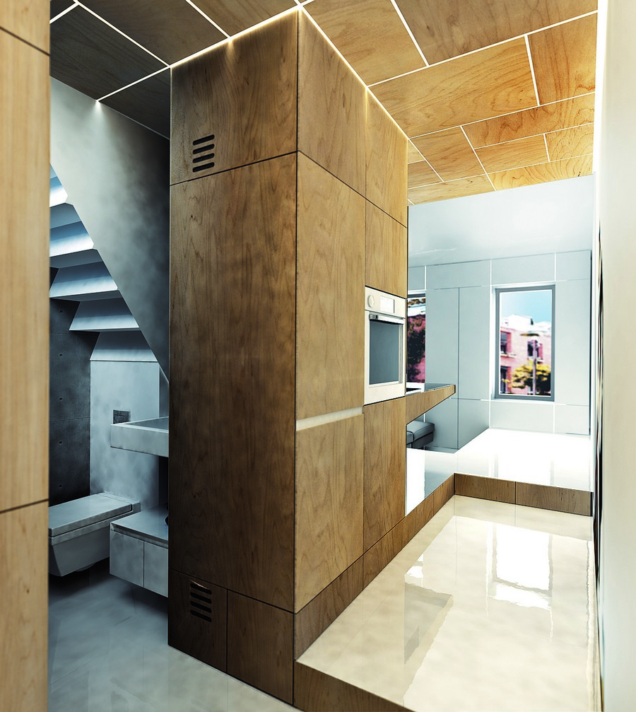 18-wooden-ceiling-decor-in-interior-design-veneer-industrial-style-loft-bathroom-entry-kitchen-LED-lights-RGD-glossy-floor-faux-concrete-sink-toilet-built-in-oven-cabinets