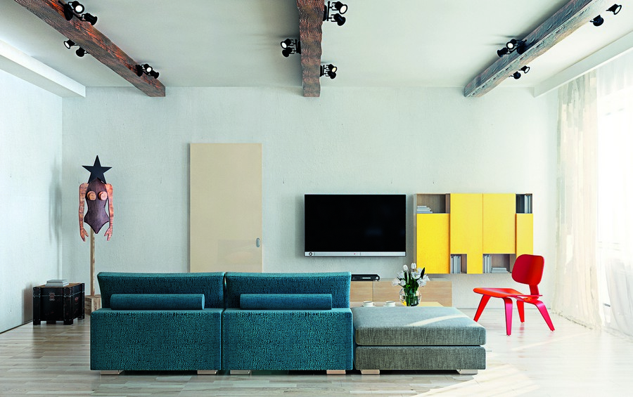 19-wooden-ceiling-decor-in-interior-design-minimalist-style-living-room-white-walls-faux-ceiling-beams-track-lights-yellow-geometrical-cabinets-TV-set-red-chair-mannequin-blue-sofa