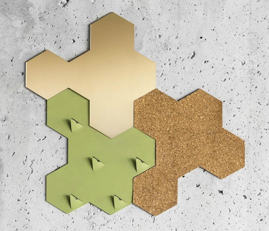 2-1-Penta-by-Valence-designed-by-Sjoerd-Jonkers-wall-art-piece-multifuctional-3-in-1-mirror-cork-note-board-coat-racks-for-entry-room-hallway-hexagonal-geometrical-cork-wood-home-decor-accessories