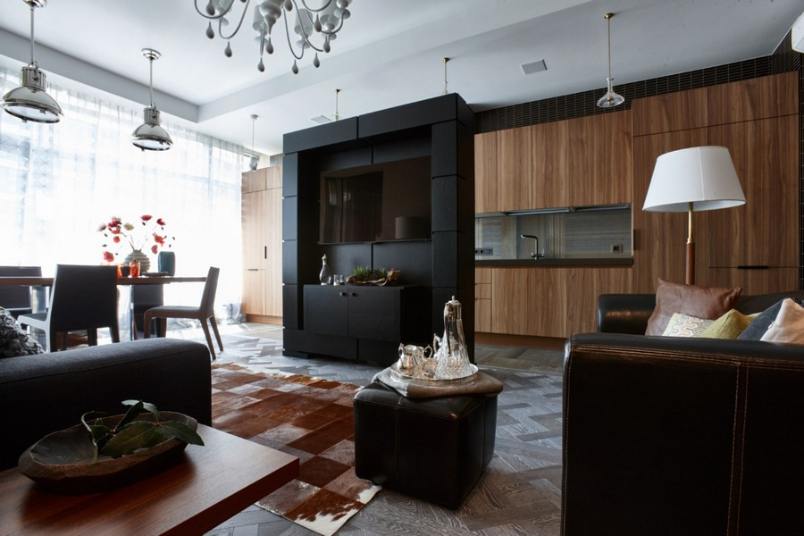 2-1-contemporary-style-interior-design-open-concept-living-room-dining-kitchen-gray-modular-parquet-walnut-furniture-wenge-tiles-black-TV-stand-partition-faux-wood-kitchen-cabinets-dining-set-sofa-padded-stool