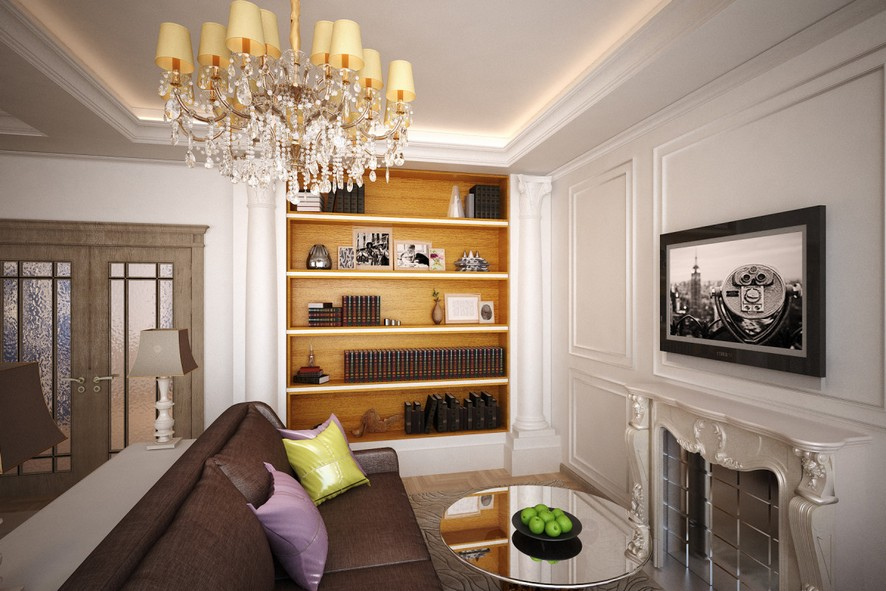 2-1-neo-classical-style-interior-design-light-open-concept-living-room-lounge-area-artwork-sofa-glass-coffee-table-fireplace-bookshelves-crown-moldings-wall-panelling