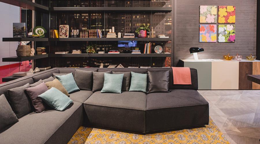 2-2-Lago-Italian-furniture-for-famous-women-Patrizia-Bambi-Pepe-living-room-interior-design-brown-sofa-throw-pillows-yellow-rug-lounge-open-shelves
