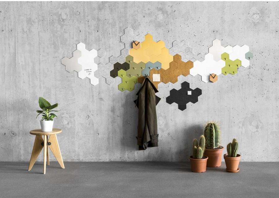 2-2-Penta-by-Valence-designed-by-Sjoerd-Jonkers-wall-art-piece-multifuctional-3-in-1-mirror-cork-note-board-coat-racks-for-entry-room-hallway-hexagonal-geometrical-cork-wood-home-decor-accessories