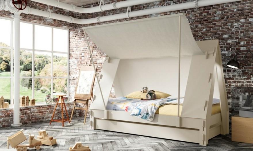 2-2-creative-interesting-non-standard-furniture-design-kids'-room-interior-wooden-teepee-wigwam-Indian-beds-Mathy-by-Bols-Belgium-loft-style-industrial