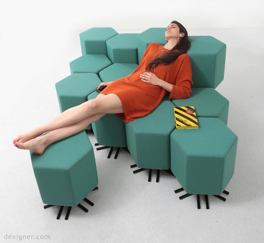 2-5-lift-bit-Italy-Vitra-Carlo-Ratti-design-modular-smart-seat-sofa-remote-digitally-transformable-controlled-furniture-upholstered-hexagonal-geometric