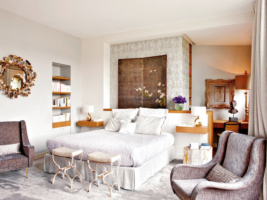 2-Paris-apartment-interior-design-contemporary-style-by-Stephane-Olivier-light-white-walls-pastel-colors-patina-arm-chairs-copper-mirror-frame-bed-shleves-rug-dressing-table-bedside-lamps-luxury