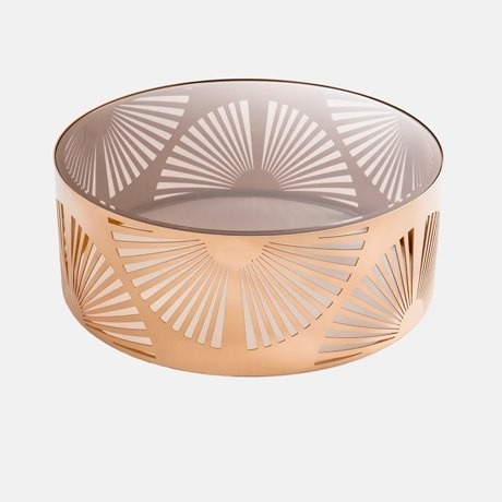 2-art-deco-style-coffee-table-bronze-base-glass-top-carved-pattern-pink-golden