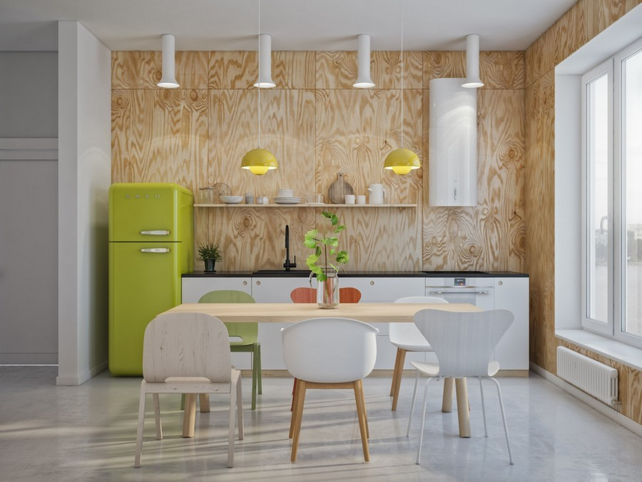 2-creative-Scandinavian-style-interior-design-kitchen-with-bright-accents-green-SMEG-refrigerator-fridge-pendant-lamps-mismatched-dining-chairs-open-racks-shelves-big-windows-light-open-airy-plywood-wall-black