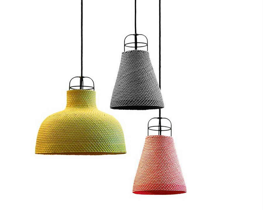 2-multi-colored-pendant-lamps-eco-frinedly-lampshades-palm-leaf-fibers-design-by-thinkk-studio-for-Specimen-Editions-yellow-red-gray-wicker