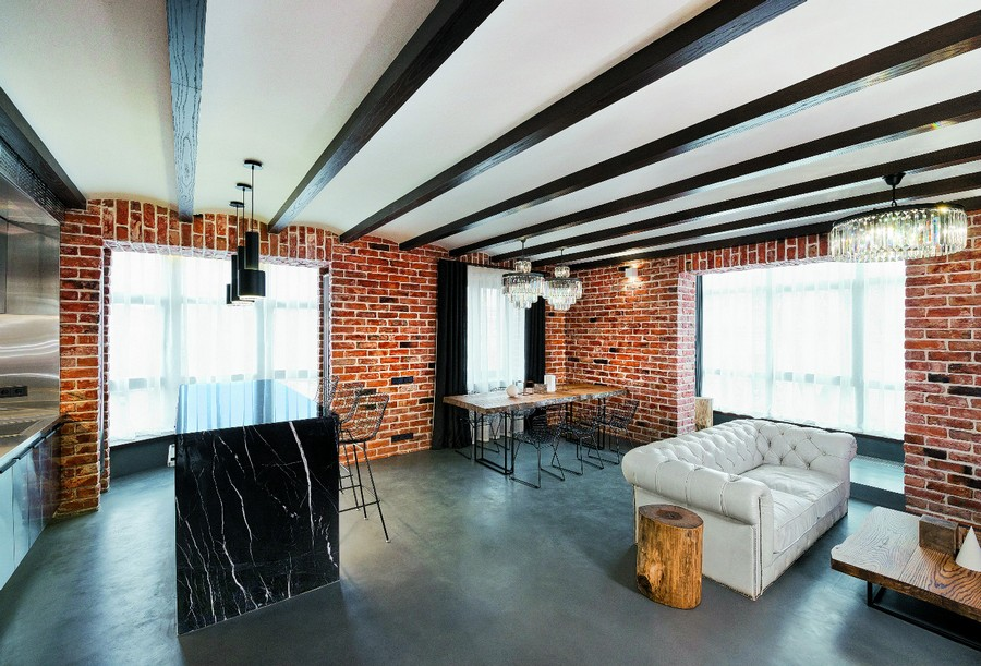 20-wooden-ceiling-decor-in-interior-design-faux-plasterboard-sheetrock-arched-ceiling-white-chester-sofa-living-room-loft-style-chandelier-pendant-lamps-black-marble-kitchen-island-faux-brick-walls-dining-table