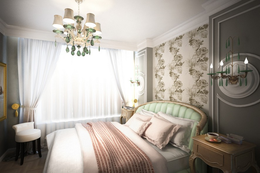 3-1-neo-classical-style-interior-design-light-pastel-green-upholstered-bed-bedroom-gray-walls-floral-wallpaper-designers-guild-crystal-chandelier-pink-bed-cover-drapery-wall-panelling