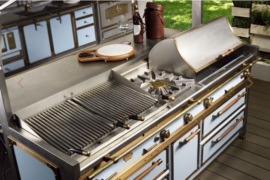 3-2-Pacific-Light-Blue-kitchen-suite-set-by-Officine-Gullo-Italy-handmade-metal-burnished-stainless-steel-cabinets-brass-trims-island-bar-professional-fry-top-ribbed-smooth-barbecue-cover-double-cooker