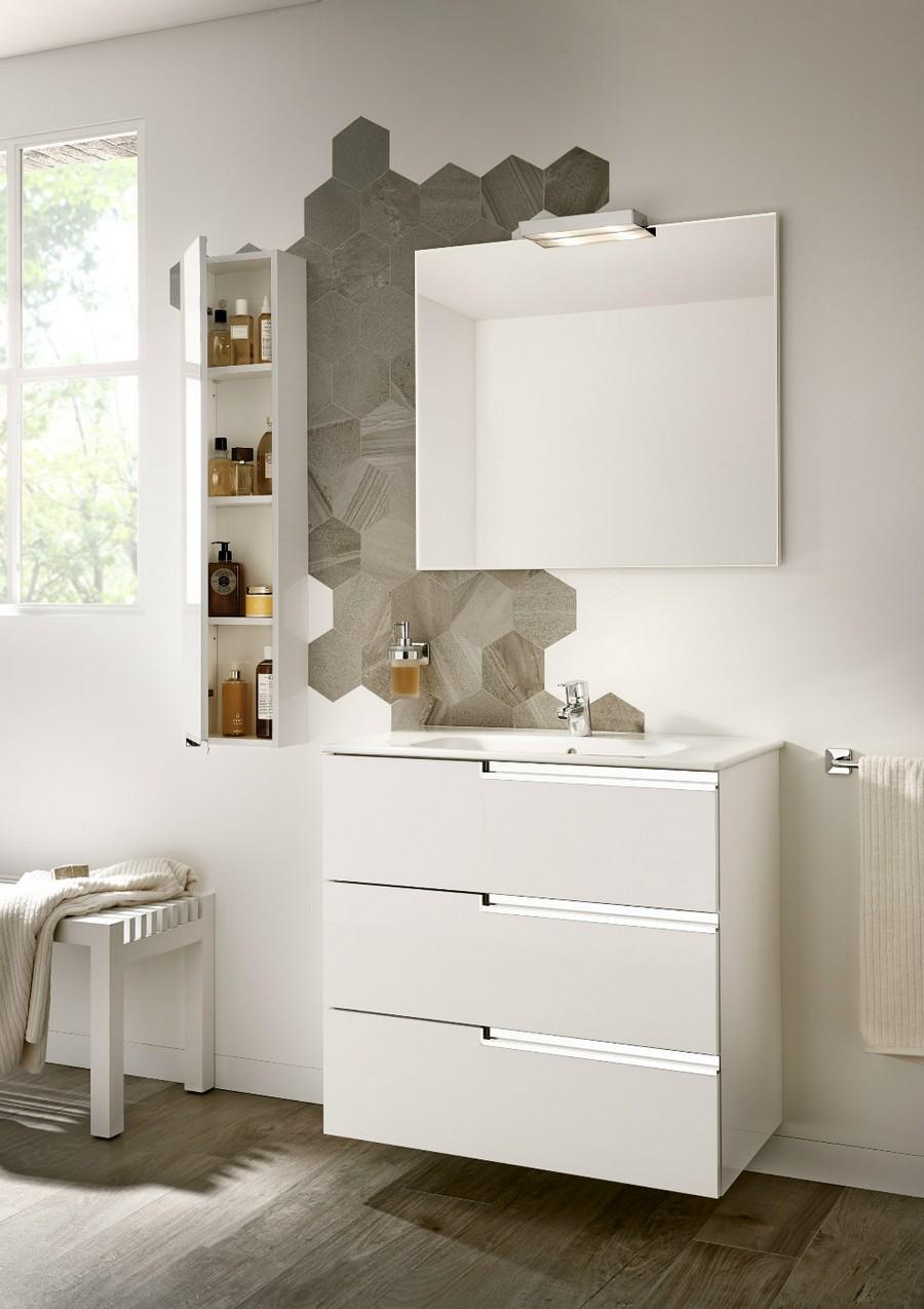 3-2-Roca-beige-bathroom-interior-design-wash-basin-vanity-unit-white-wall-mounted-cabinet-square-mirror-hexagonal-wall-tiles-gray
