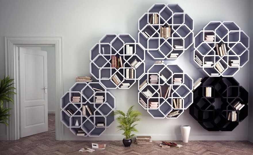 3-2-creative-interesting-non-standard-furniture-design-shelving-unit-shalf-stand-snowflake-shaped-geometrical-white-inspired-by-Moroccan-mosaic-pattern-big-by-Younes-Duret-Design-Studio