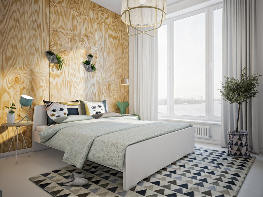 3-creative-Scandinavian-style-interior-design-bedroom-big-panoramic-windows-river-view-plywood-wall-geometric-pattern-rug-indoor-plants-mismatched-nightstands-bedside-tables-lamps