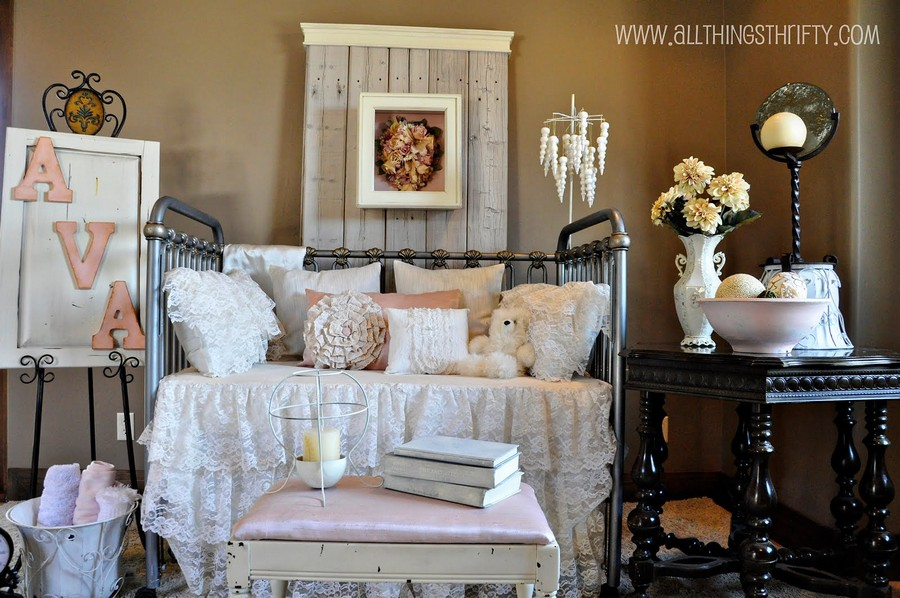 3-shabby-chic-style-interior-design-nursery-kid's-baby's-room-forged-wrough-metal-bed-lace-bedspread-bed-cover-bucket-towel-holder-aged-wooden-coffee-table-floor-lamp
