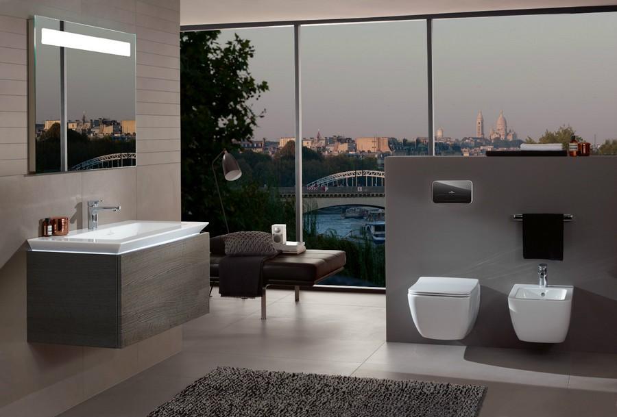 4-1-Villeroy-&-Boch-beige-bathroom-interior-design-wash-basin-vanity-unit-toilet-bidet-gray-wall-mounted-cabinet-panoramic-windows-couch-rug
