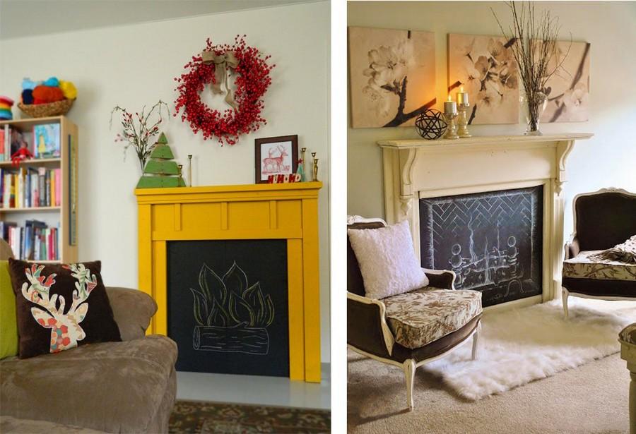 4-1-chalkboard-blackboard-paint-interior-faux-fireplace-ideas