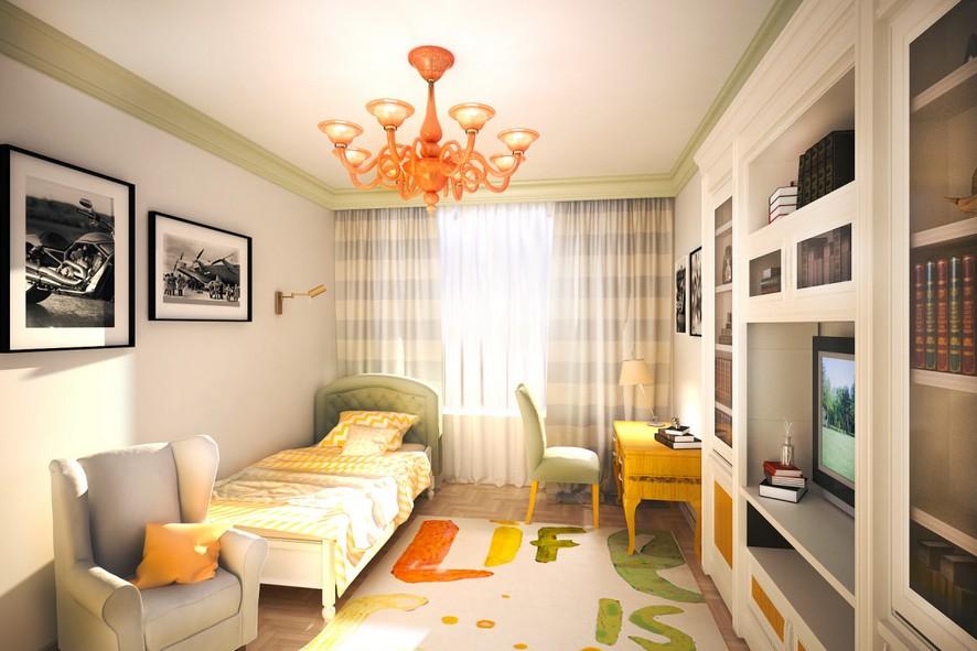 4-1-neo-classical-style-interior-design-light-white-walls-kid's-room-bedroom-writing-desk-green-upholstered-bed-arm-chair-orange-chandelier-yellow-rug-bookshelves-TV
