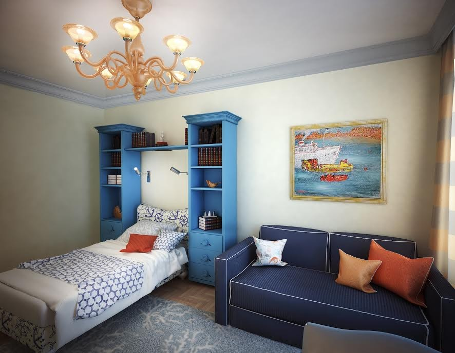 4-2-neo-classical-style-interior-design-light-beige-walls-blue-tall-cabinets-bookstands-sofa-orange-throw-pillows-rug-chandelier-artwork-kids-room-bedroom