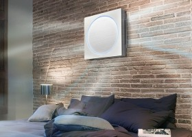 4-air-conditioner-in-the-bedroom-interior-design-stylish-flat-LG-artcool-stylist-with-multidirectional-air-flow-stream-faux-brick-wall-tiles-black-bed-linen-bedside-lamps-big-window