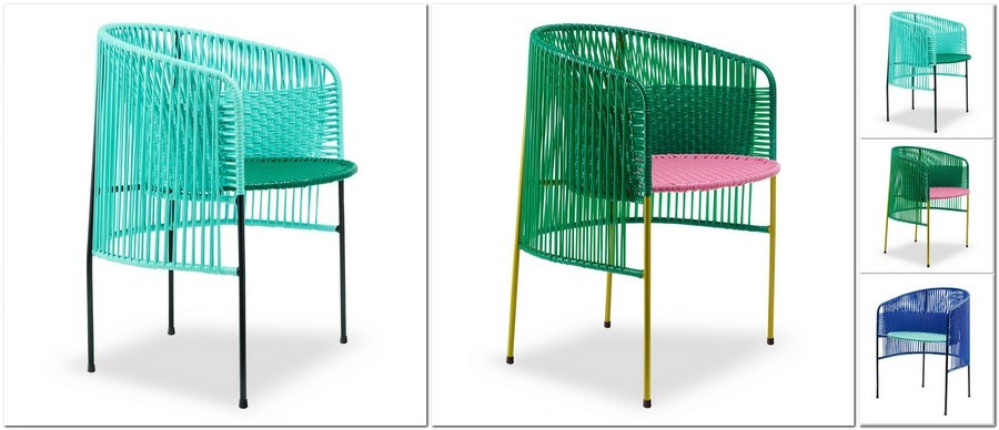 4-blue-mint-green-pink-wicker-lounge-arm-chair-for-Ames-momposino-weaving-technique-plastic-string-tubular-steel-frame