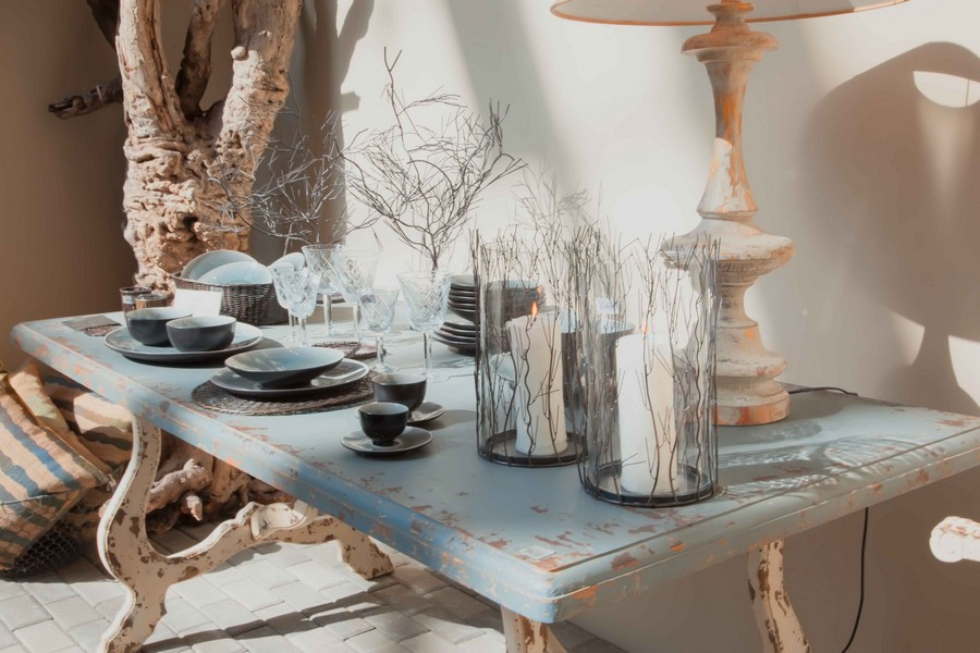 4-shabby-chic-style-decor-aged-pale-blue-low-coffee-table-on-curved-legs-table-lamp-glass-candle-holders-tea-set-tree-branches