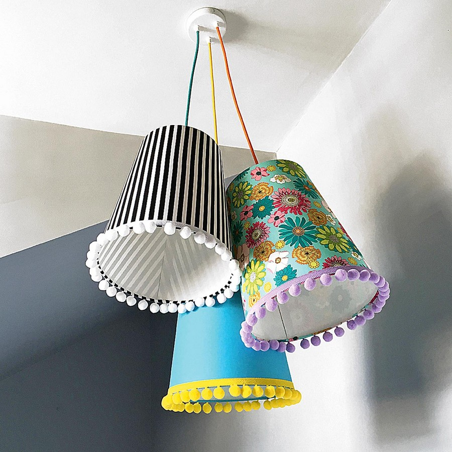 5-1-Sweet-suspended-lamps-with-pompoms-fabric-lampshade-by-Love-Frankie-beautiful-home-textile-decor-accessories-summer-2017