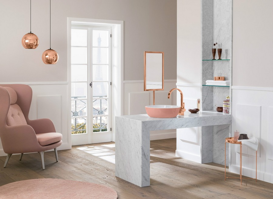 5-4-Villeroy-&-Boch-beige-bathroom-interior-design-wash-basin-vanity-unit-pastel-pink-romantic-arm-chair-white-marble-countertop-copper-pink-gold-accessories-top-mounted-colored-sink-wooden-floor