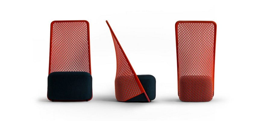 5-Cradle-Moroso-design-by-Benjamin-Hubert-minimalistic-minimalist-style-furniture-red-arm-chair-innovative-net-upholstery-fabric-stretchy