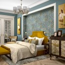 5-contemporary-neo-classical-interior-design-Ameerican-style-furniture-beige-blue-wallpaper-bedroom-mustard-yellow-accents-ottoman-upholstered-bed-mirrrored-cabinets-chest-of-drawers-arm-chair-lamp-wall-recess