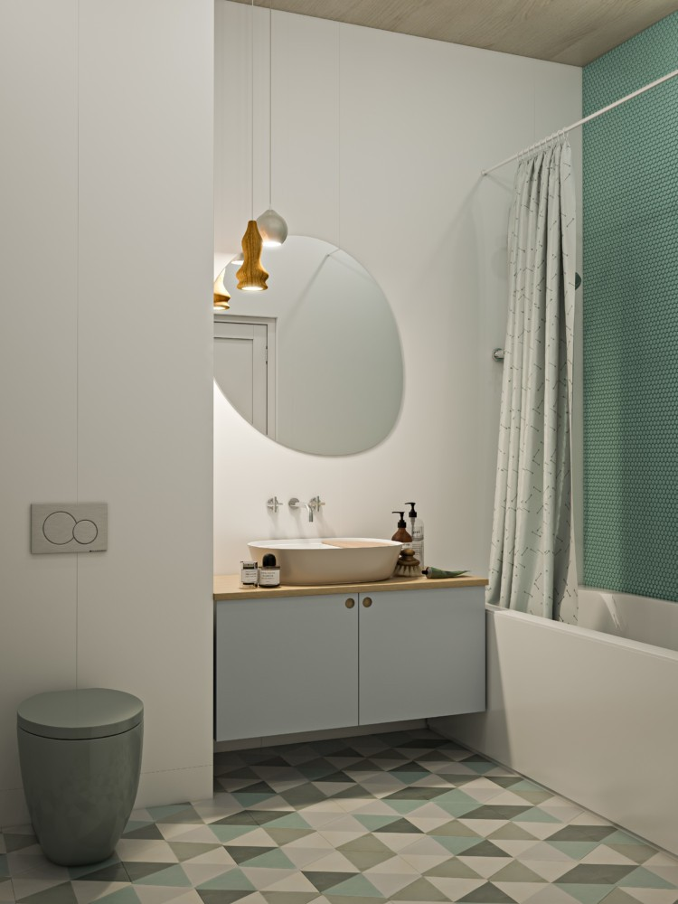 5-creative-Scandinavian-style-interior-design-bathroom-white-painted-walls-geometric-triangular-pattern-floor-tiles-non-white-toilet-WC-green-gray-accents-shower-curtain-cabinets-asymmetrical-mirror-top-mounted