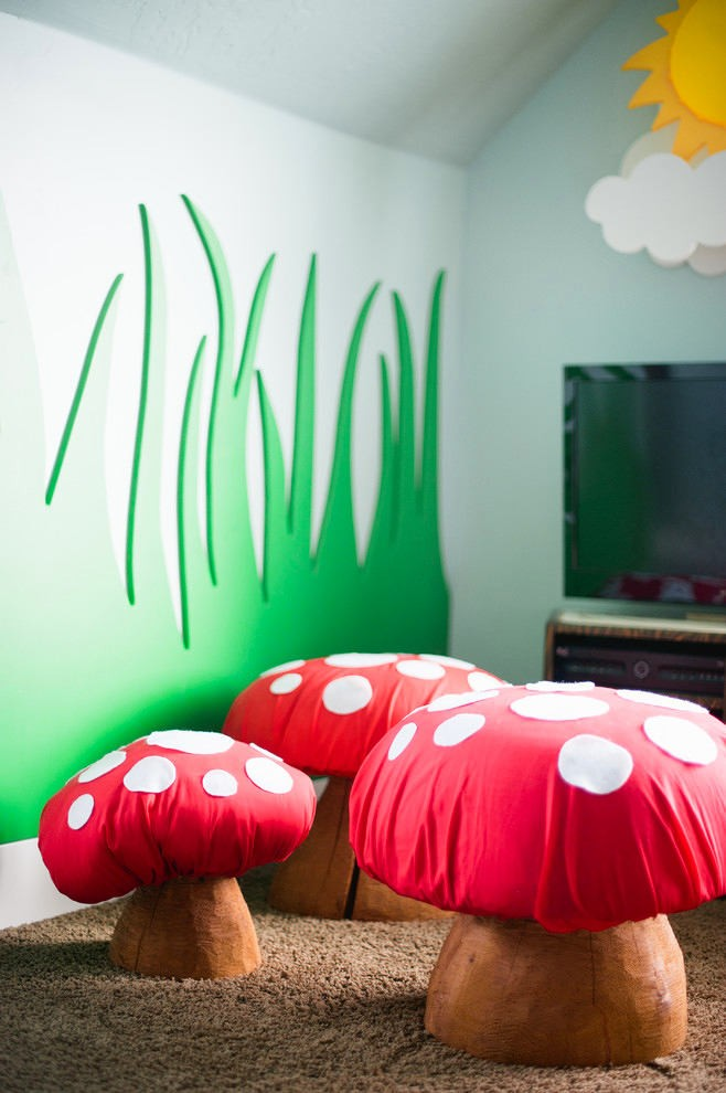 5-fly-agaric-shaped-ottomans-for-kids-furniture-3D-MDF-wall-decor-carved-green-grass