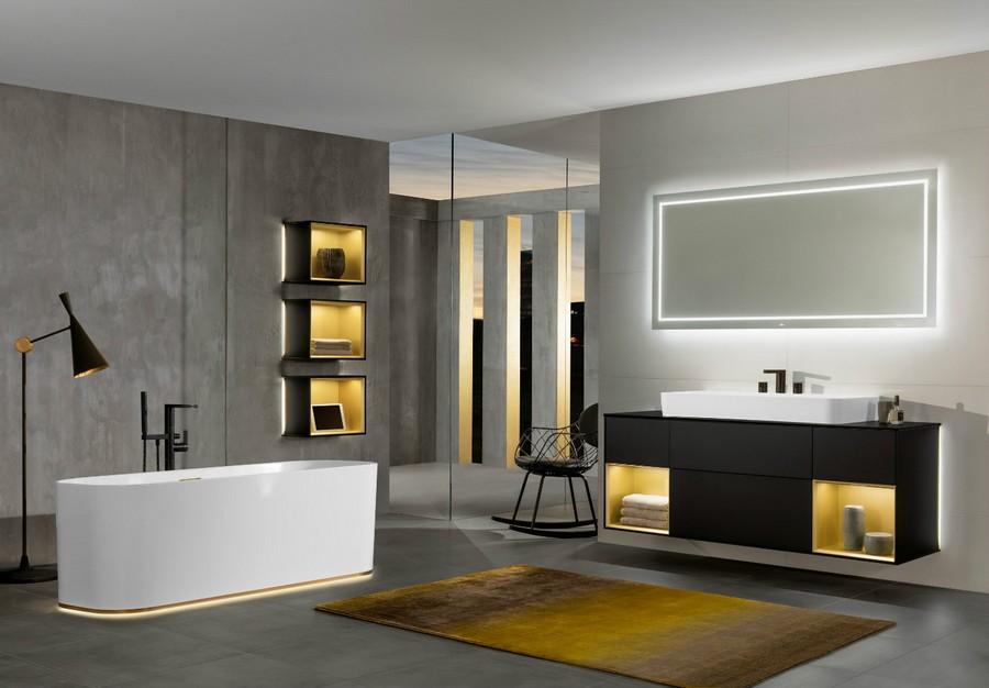 6-1-Villeroy-&-Boch-beige-bathroom-interior-design-wash-basin-vanity-unit-bathtub-wall-mounted-cabinets-with-LED-lights-backlit-wall-recesses-black-faucet-floor-lamp-rectangular-mirror
