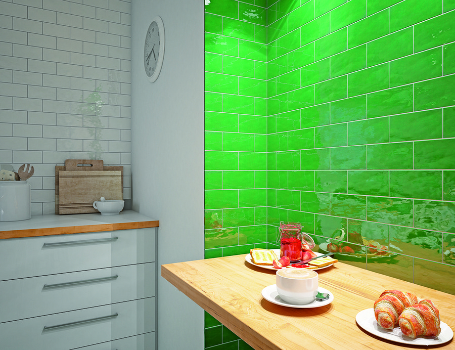 6-3-ceramic-tiles-in-interior-design-kitchen-backsplash-green-white-clinker-brick-wall-tiles-Cevica-brand-collection-2017