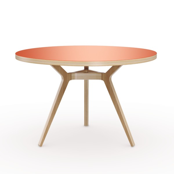6-4-Täby-round-dining-table-3-inclined-sloped-legs-natural-wood-top-salmon-pink-painted