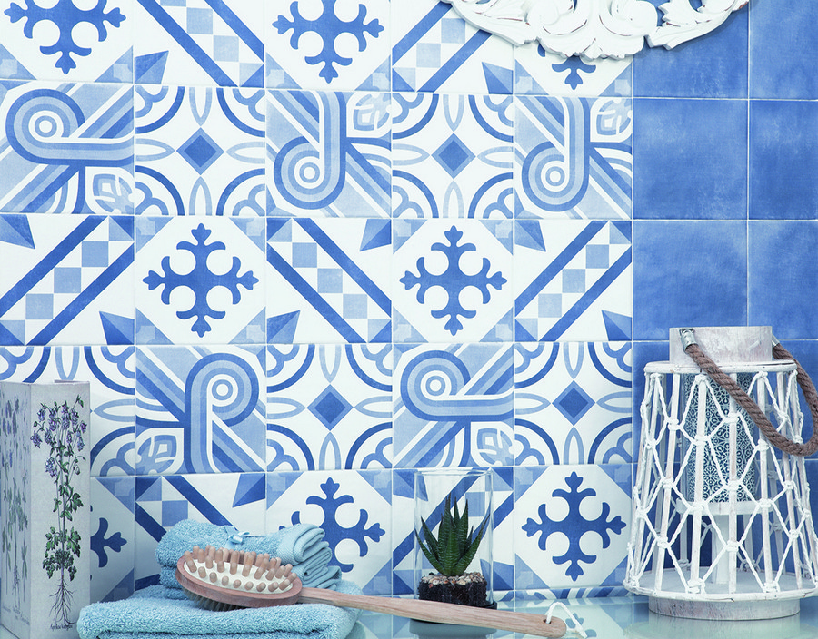 6-8-ceramic-tiles-in-interior-design-bathroom-white-and-blue-square-ornamental-wall-Cevica-brand-collection-2017