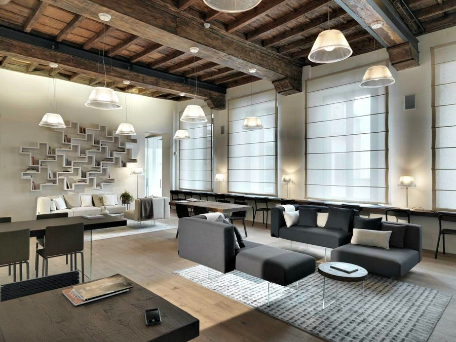 6-Lago-Italian-furniture-for-famous-women-Lella-Golfo-open-concept-big-living-room-gray-sofa-with-transparent-legs-base-dining-table-open-book-shelves-geometrical-composition-tables-desks