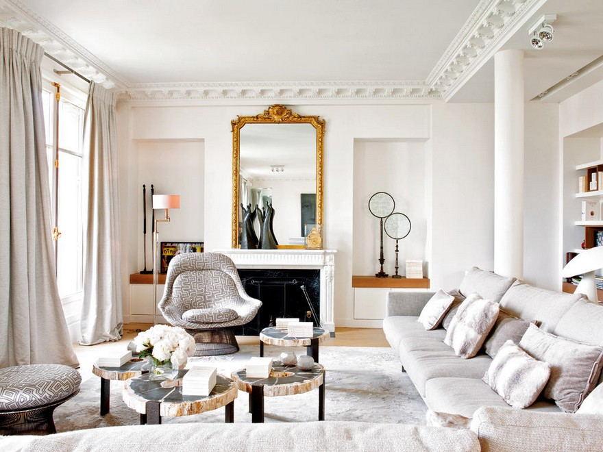 6-Paris-apartment-interior-design-contemporary-style-by-Stephane-Olivier-light-white-walls-pastel-colors-living-room-lounge-zone-area-gray-arm-chairs-art-deco-motifs-corner-sofa-ottoman-fireplace-mirror-golden-frame